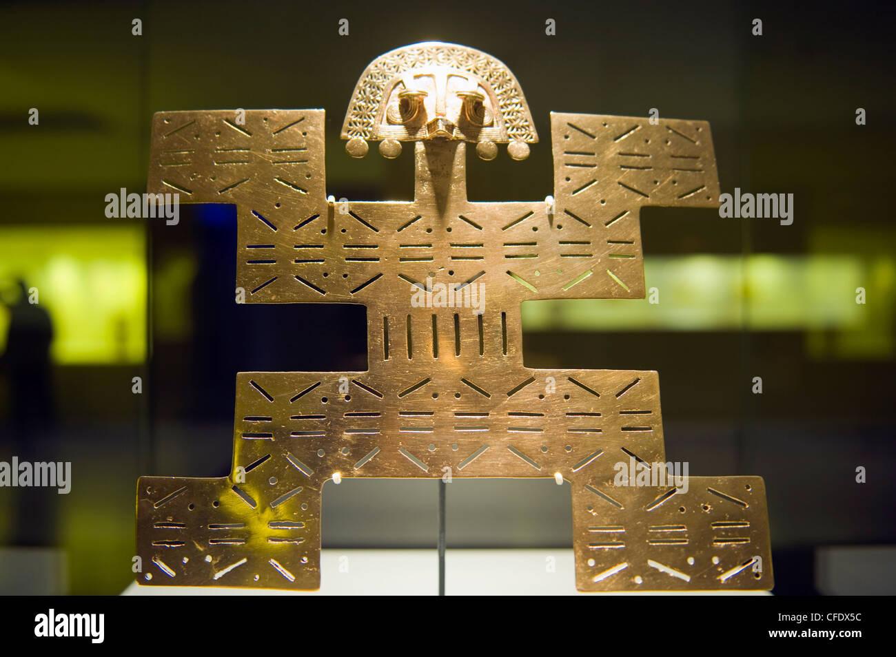 Oro nella scultura il Museo del Oro (Gold Museum), Bogotà, Sud America Immagini Stock