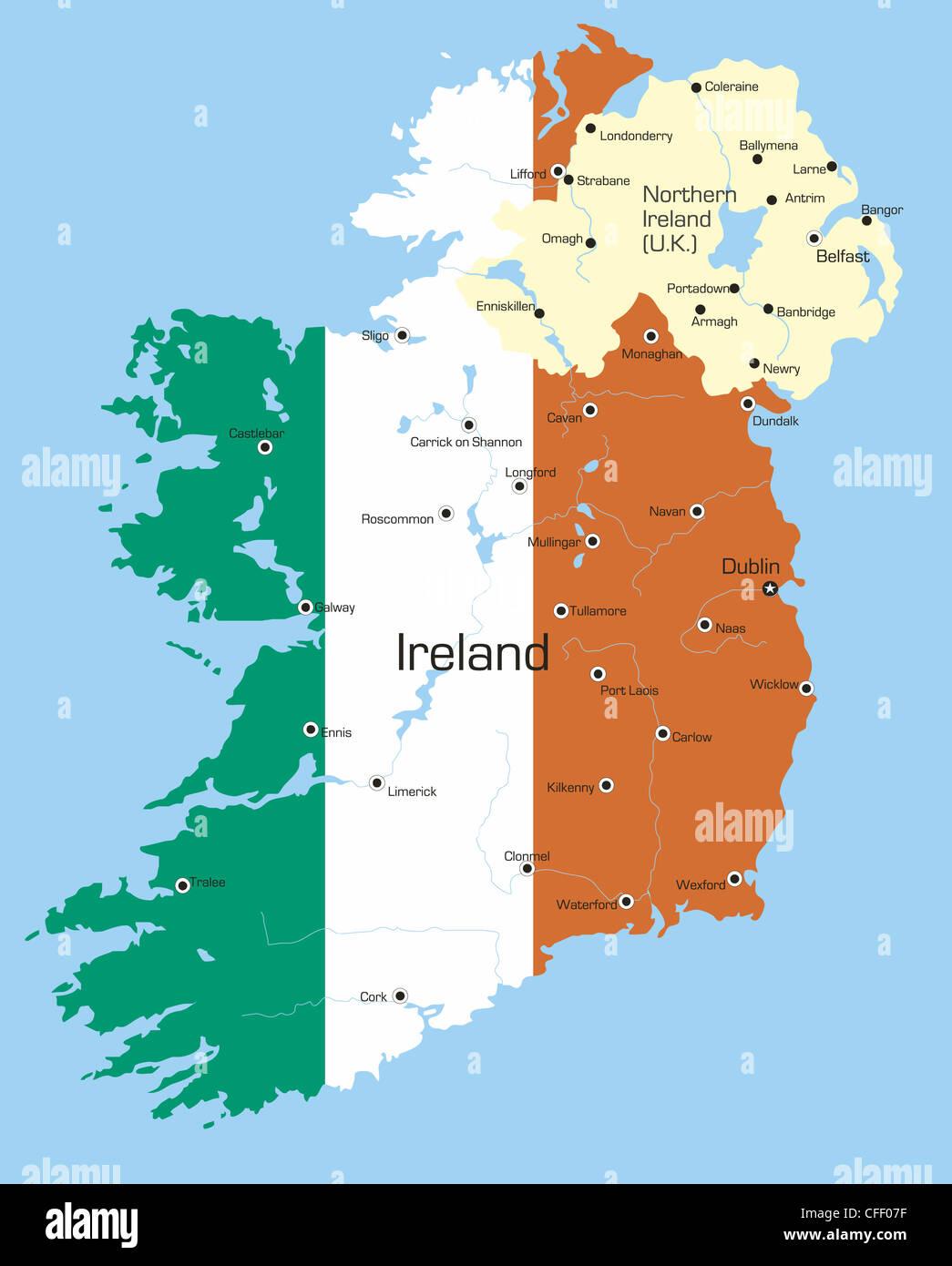 Cartina Geografica Dell Irlanda.Vettore Di Astratta Mappa Colore Dell Irlanda Paese Colorato Da Bandiera Nazionale Foto Stock Alamy