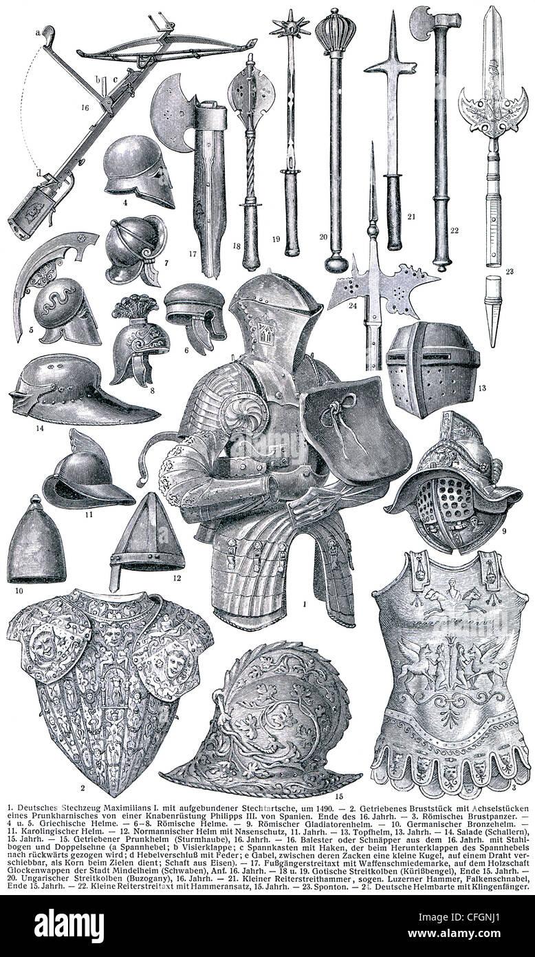 Cavalleresca armature e armi. Immagini Stock