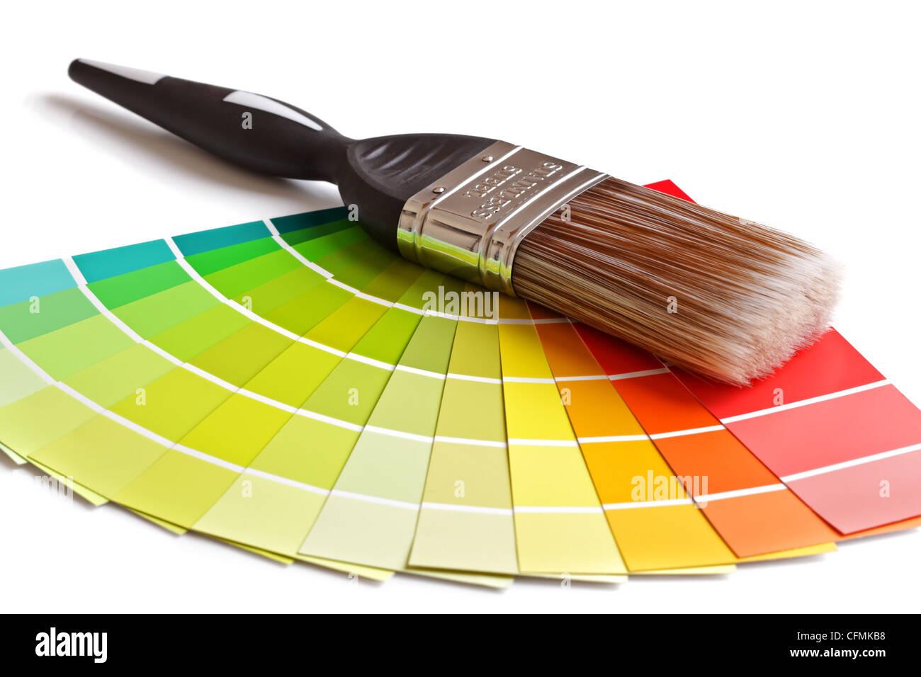 Spazzola di vernice e campioni Immagini Stock