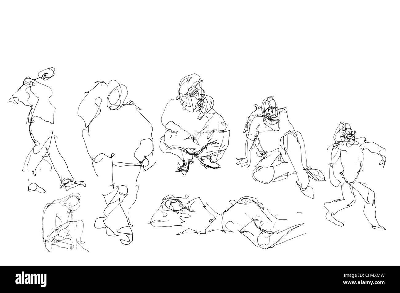 Disegnata a mano doodle elemento di persone in posa. Immagini Stock