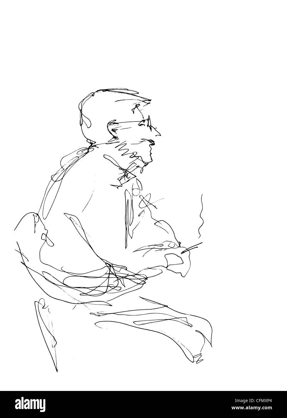 Disegnata a mano doodle elemento di un uomo seduto fumando una sigaretta. Immagini Stock