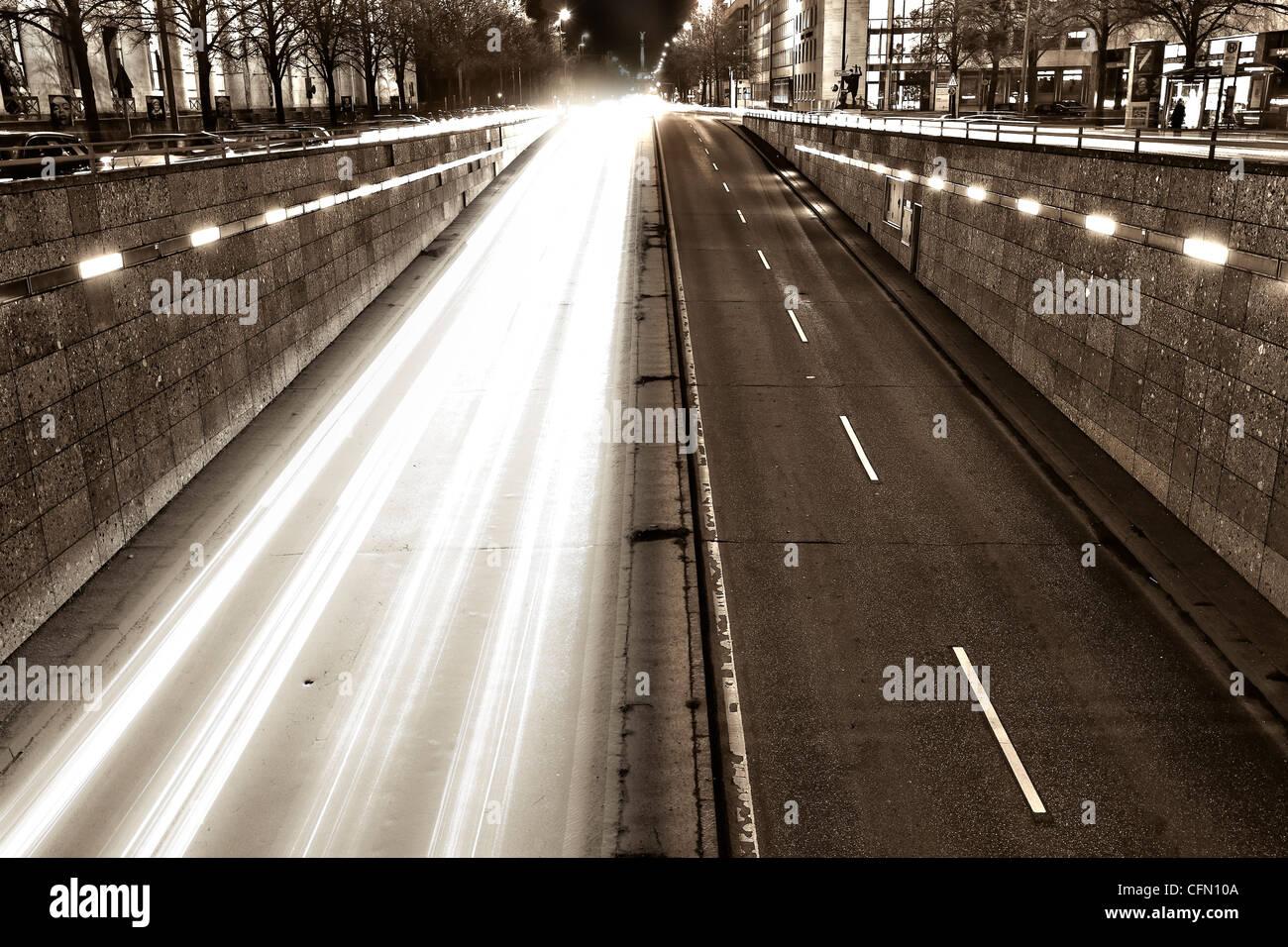 Prinzregentenstrasse di notte Immagini Stock