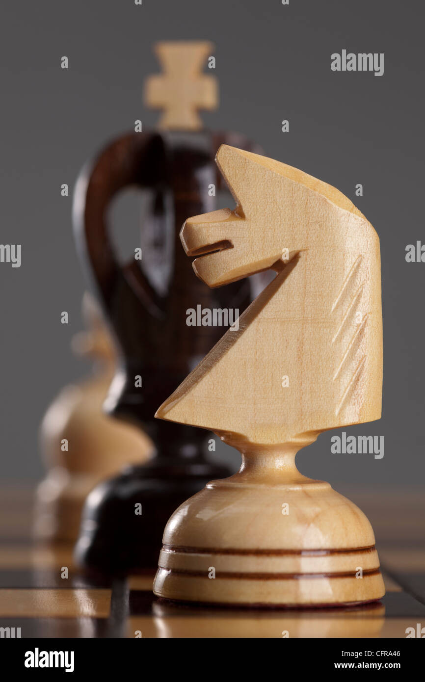 Cavaliere Bianco e nero re stare sulla scacchiera Immagini Stock