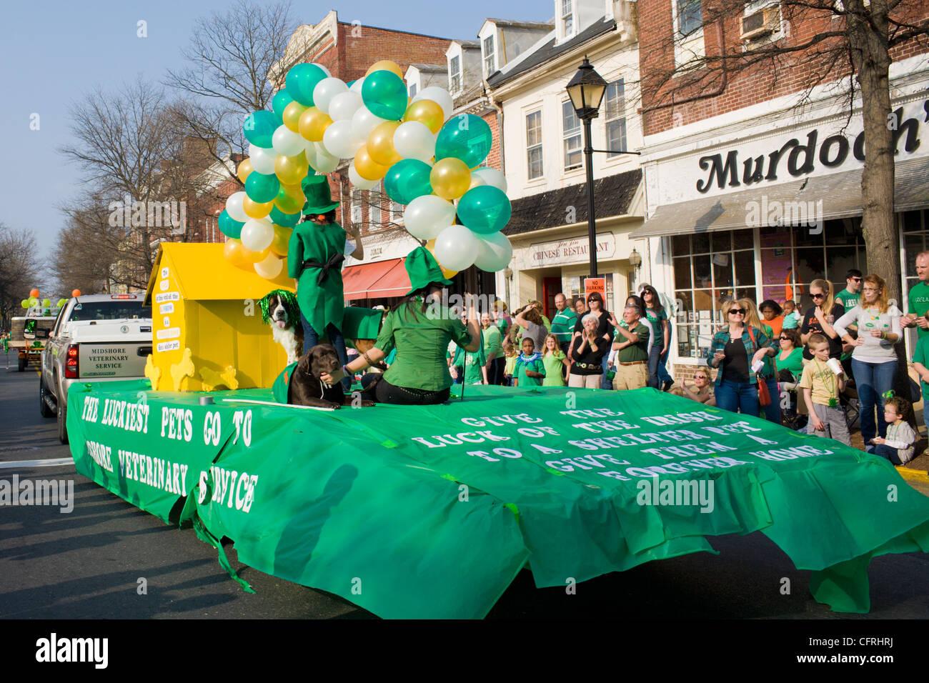 La festa di san Patrizio parade, Easton, Maryland, Talbot County, riva orientale Immagini Stock