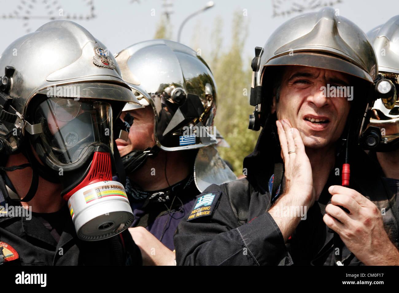Salonicco, Grecia. 8 settembre 2012. La polizia e i vigili del fuoco e porta gli ufficiali di poliziotto protesta Immagini Stock