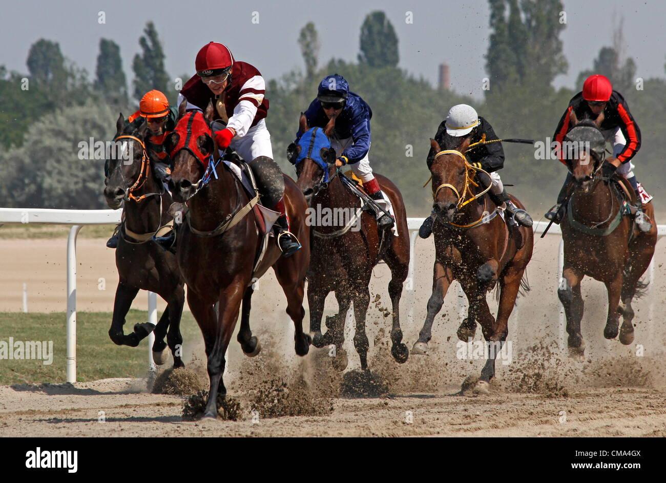 BUDAPEST - JÚLIUS 1. horse racing giulio 1, 2012 in Ungheria, Budapest, Kincsem park. Immagini Stock