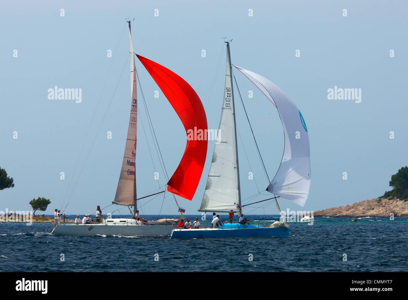 Competizione di vela in Croazia Immagini Stock
