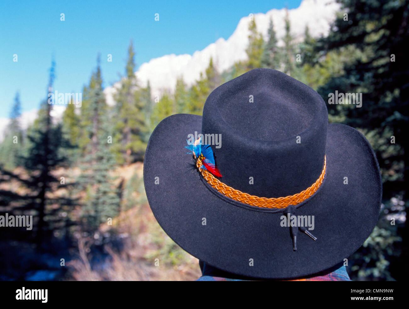 Un cowboy indossa il famoso australiano-style Episteme-marca il cappello che è riconosciuta dalla sua larga Immagini Stock