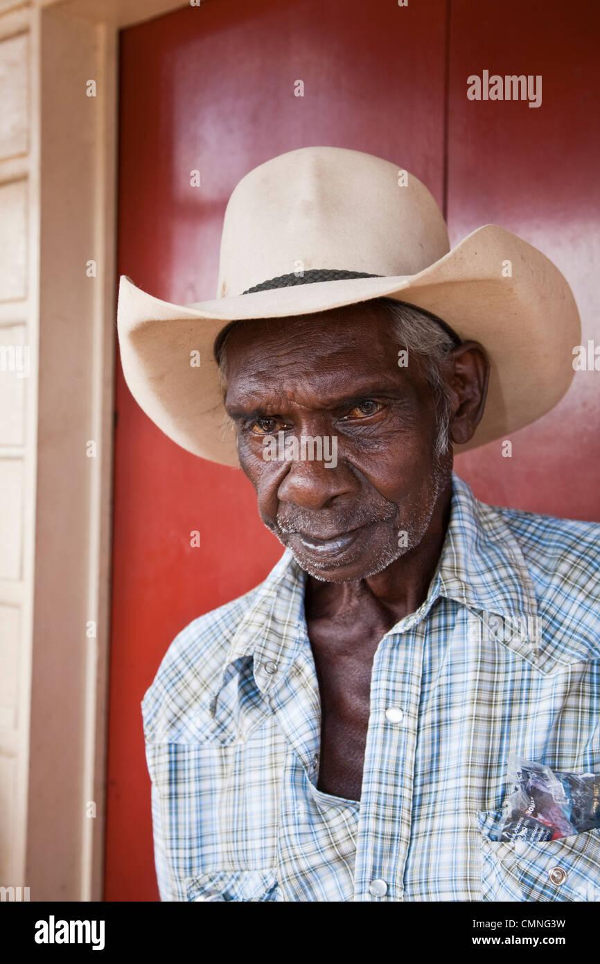 Ritratto di un aborigeno stockman. Cooktown, Queensland, Australia Immagini Stock