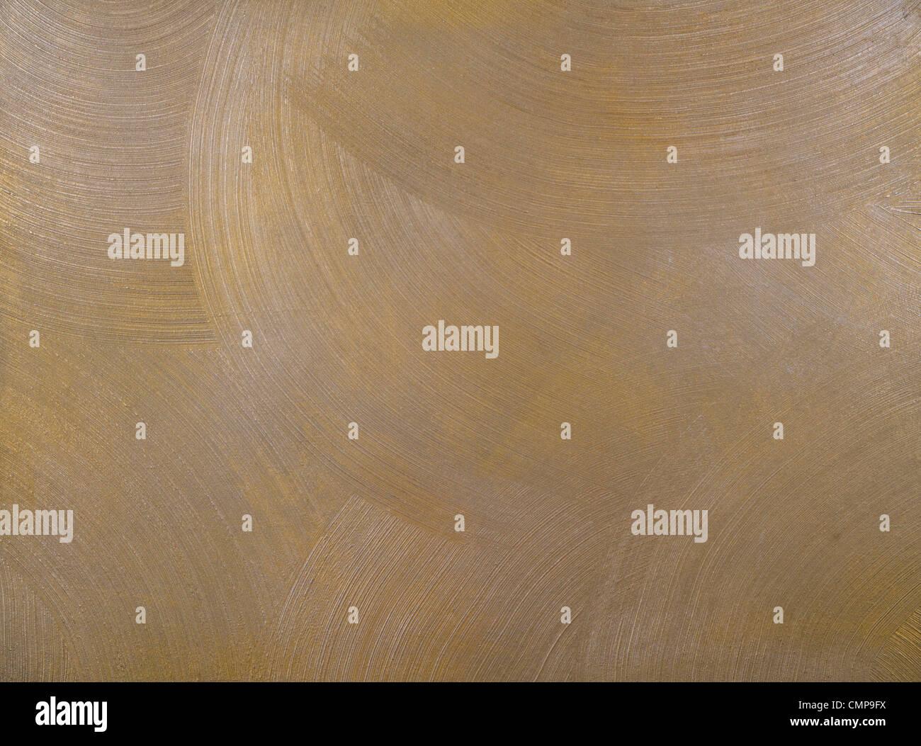 La texture di un muro di cemento rivestito con vernice metallica con frequenti, rotondo, centric tratti. Immagini Stock