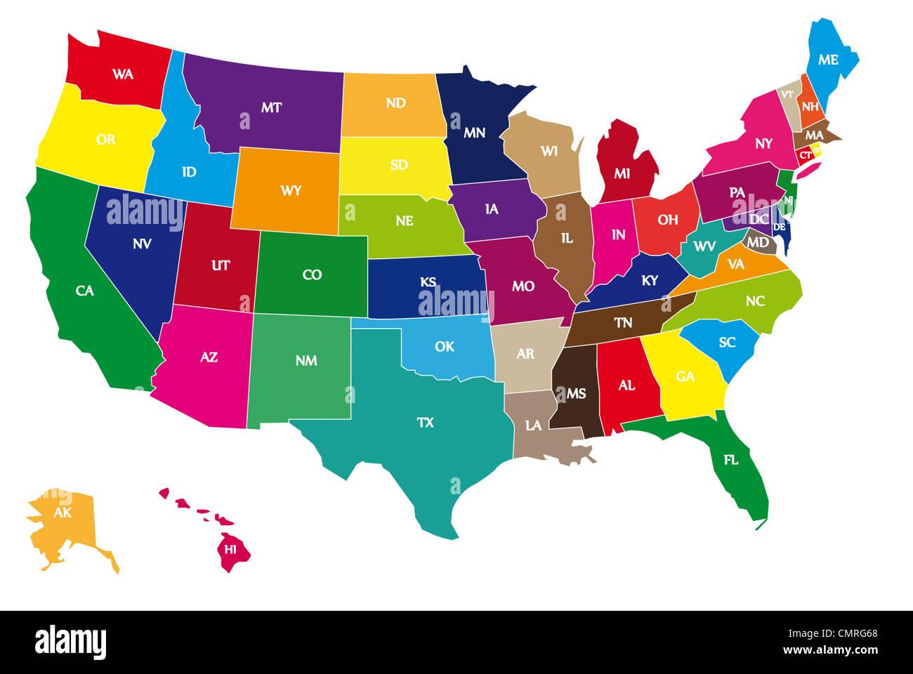 La Cartina Geografica Degli Stati Uniti.Multicolor Confinanti Con Mappa Geografica Degli Stati Uniti Con Linee Confinanti E Two Letter Abbreviazioni Di Ogni Stato Degli Usa Foto Stock Alamy