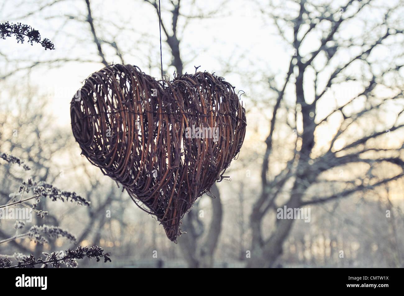 Forma di cuore decorazione di Natale all'aperto Immagini Stock