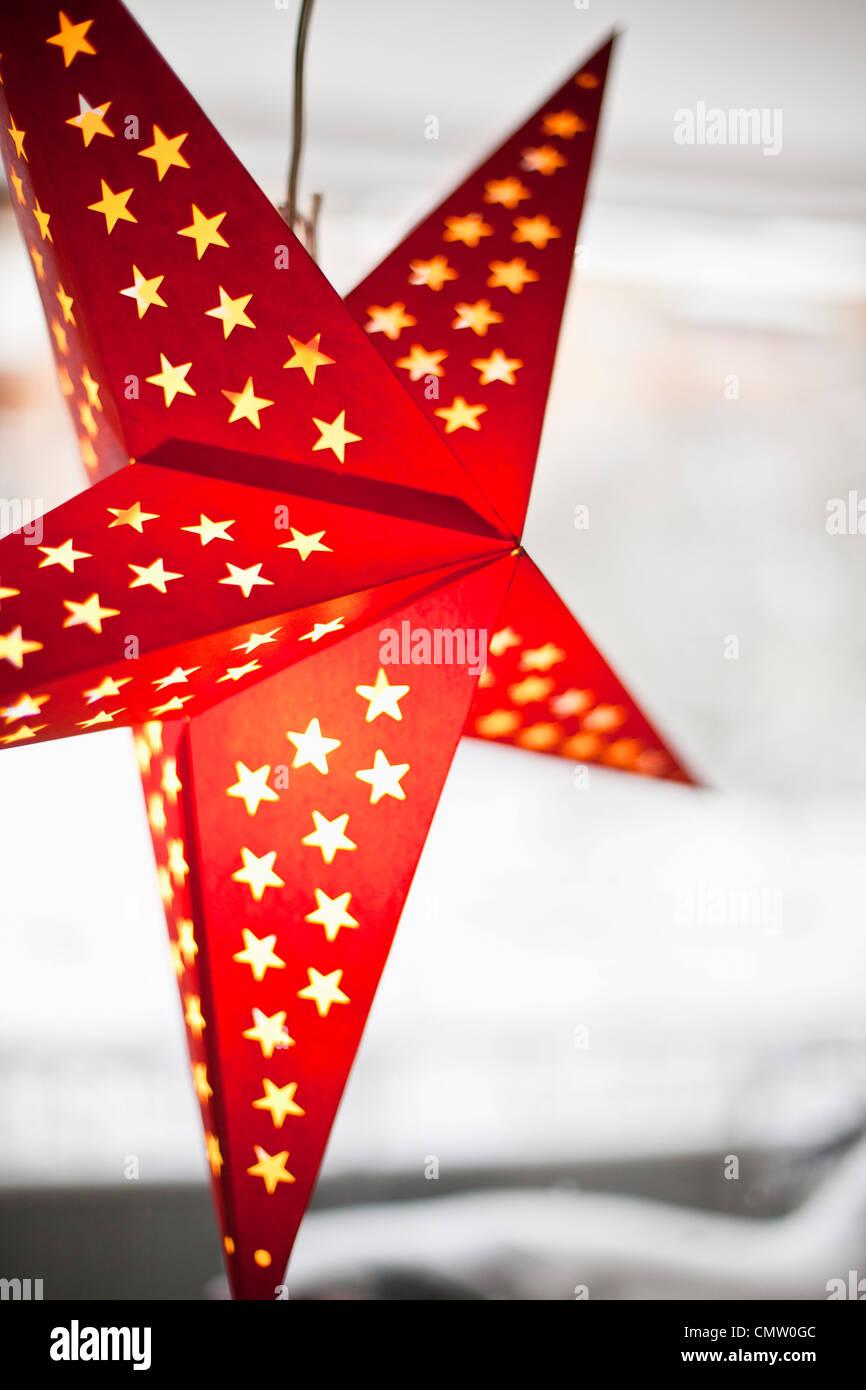 Close-up di stella di Natale Immagini Stock