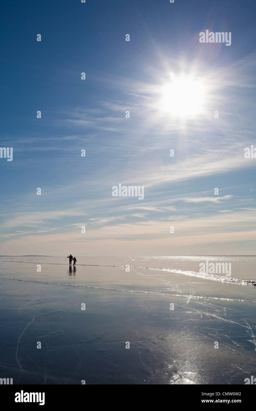 Pattinaggio sul ghiaccio in controluce Immagini Stock