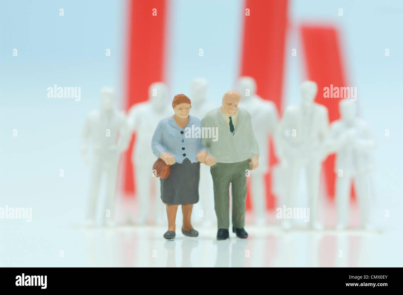 Figurina di cittadini anziani Immagini Stock