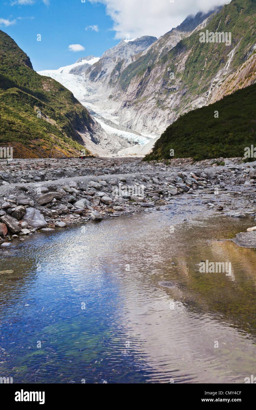Ghiacciaio Franz Josef, nella costa occidentale della Nuova Zelanda, che si riflette in un flusso a valle. Immagini Stock