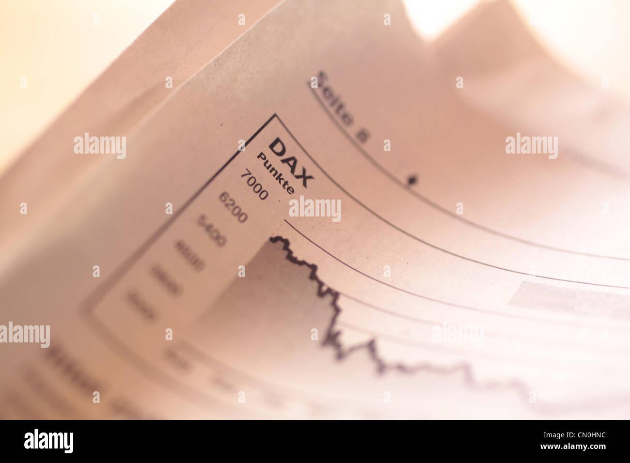 La caduta di indice azionario DAX nel giornale tedesco Immagini Stock