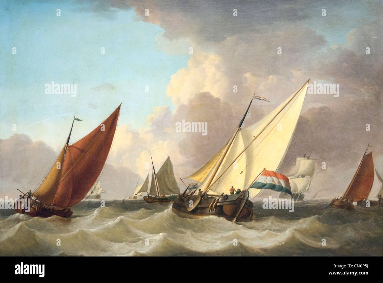 Le navi olandesi nella brezza di Jan van Os 1744 - 1808 Paesi Bassi Paesi Bassi Immagini Stock