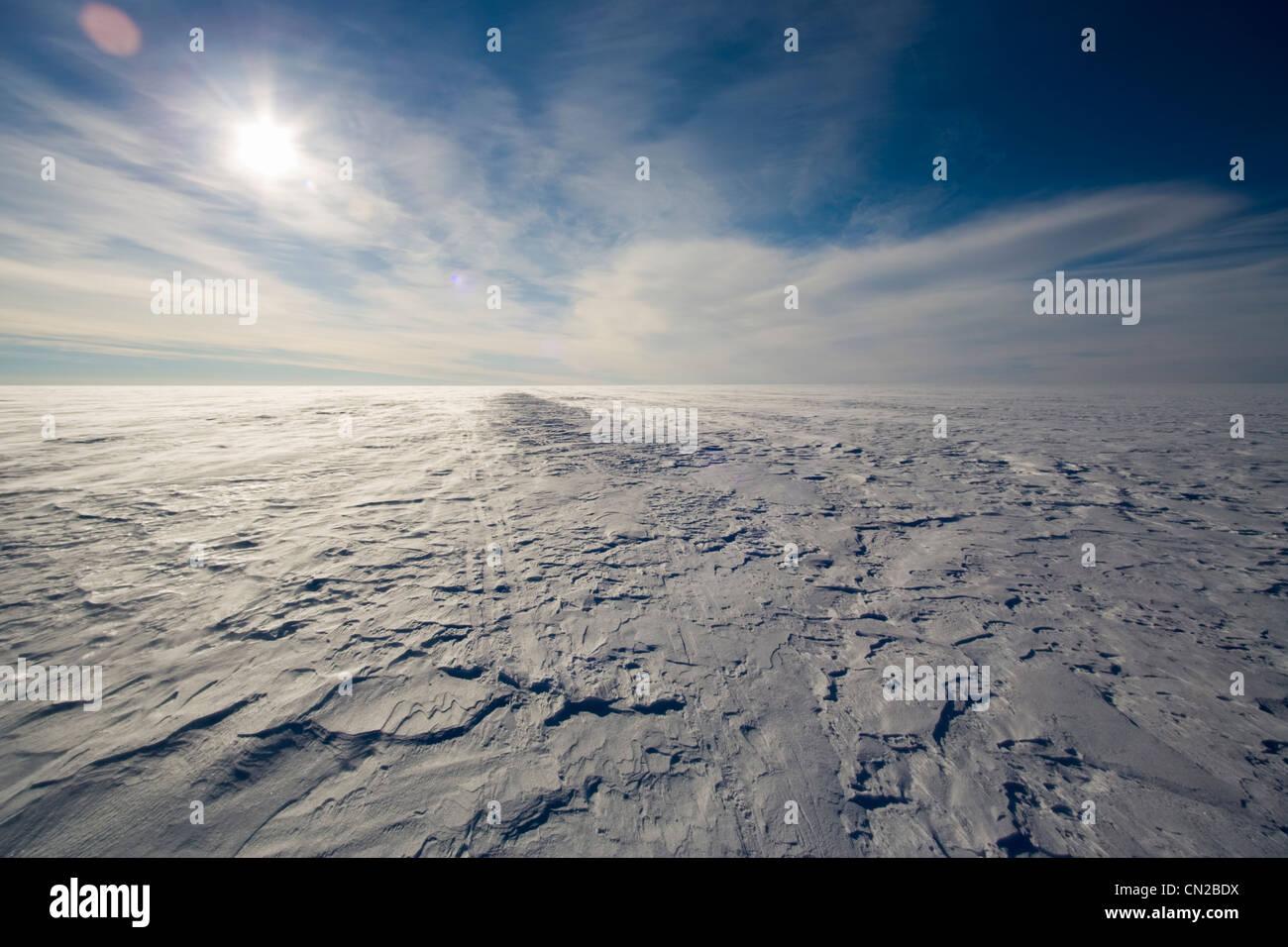 Tundra polare artico paesaggio - tappo di ghiaccio, la Groenlandia Immagini Stock