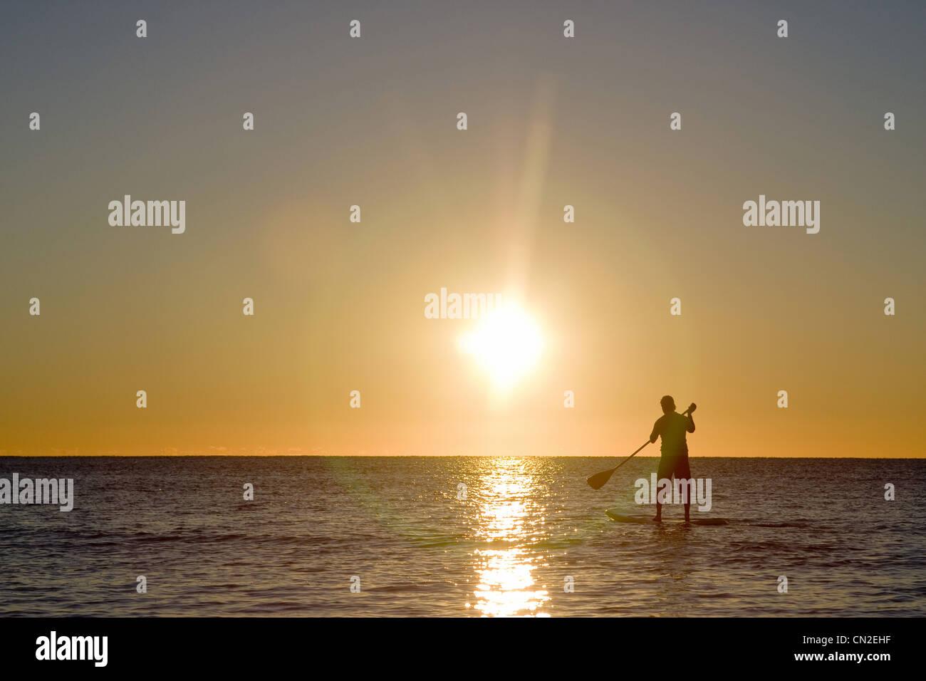 L'uomo Paddleboarding presso Sunrise, Florida Keys, STATI UNITI D'AMERICA Immagini Stock