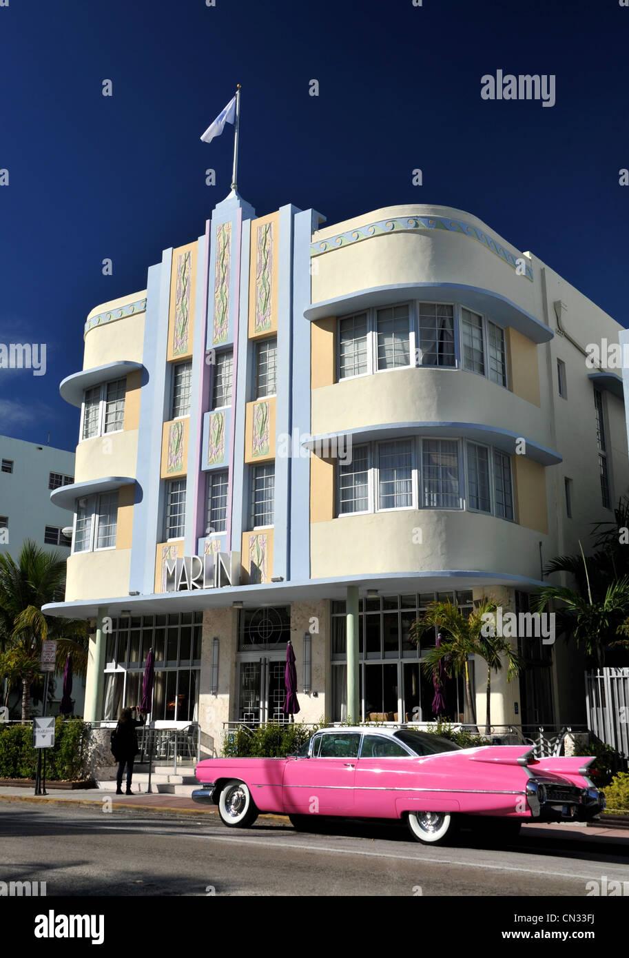 Hotel Marlin, Miami, Florida, Stati Uniti d'America Immagini Stock