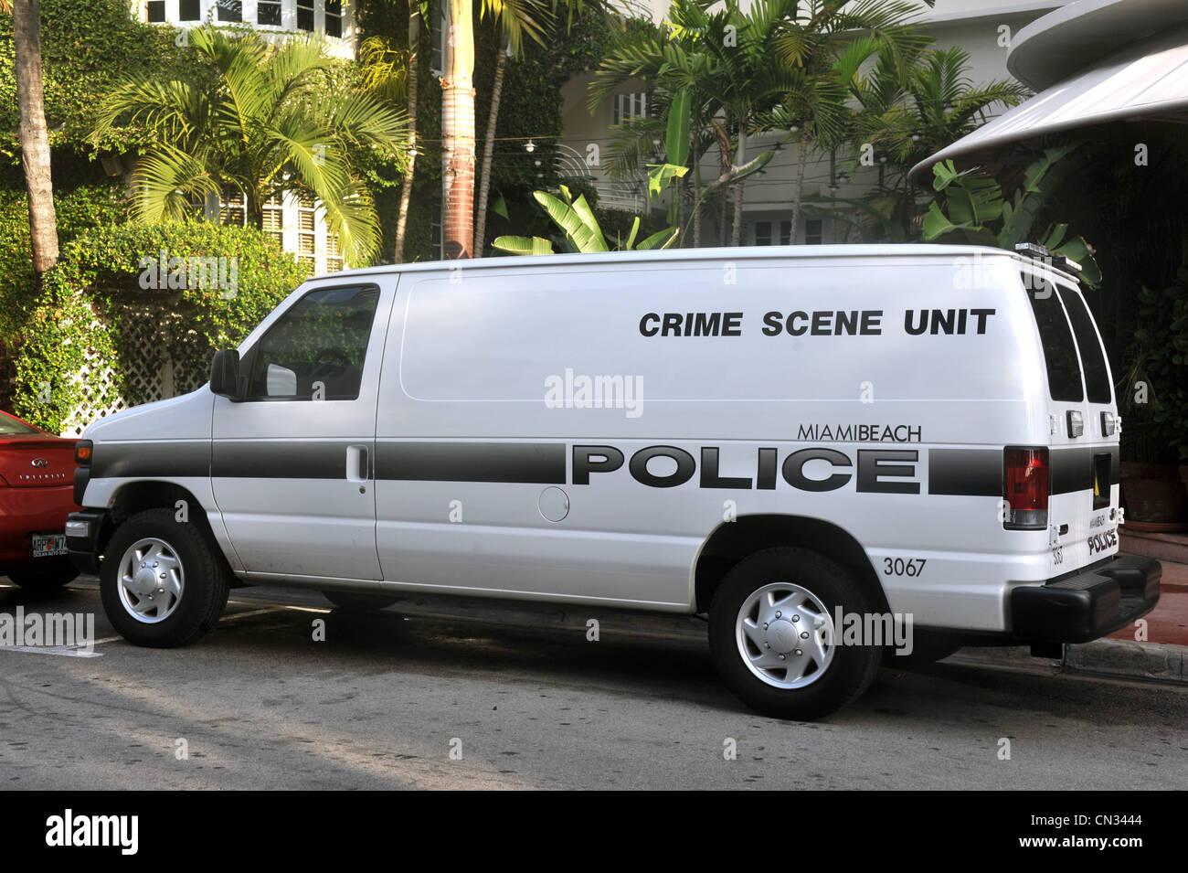 Scena del Crimine polizia unità van, Miami, Florida, Stati Uniti d'America Immagini Stock