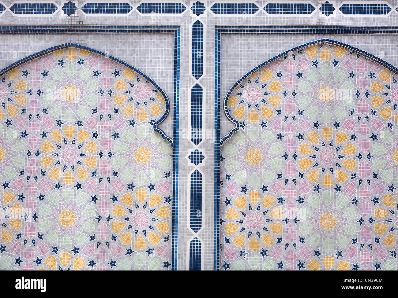 Piastrelle decorative dettaglio, Jame' asr Hassanal Bolkiah moschea, Bandar Seri Bagawan, Brunei Immagini Stock