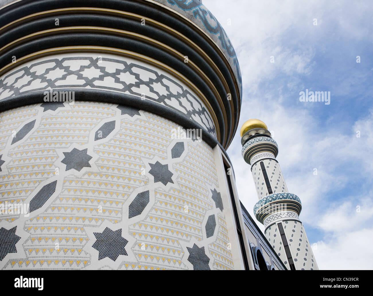 Due minareti, Jame' asr Hassanal Bolkiah moschea, Bandar Seri Bagawan, Brunei Immagini Stock