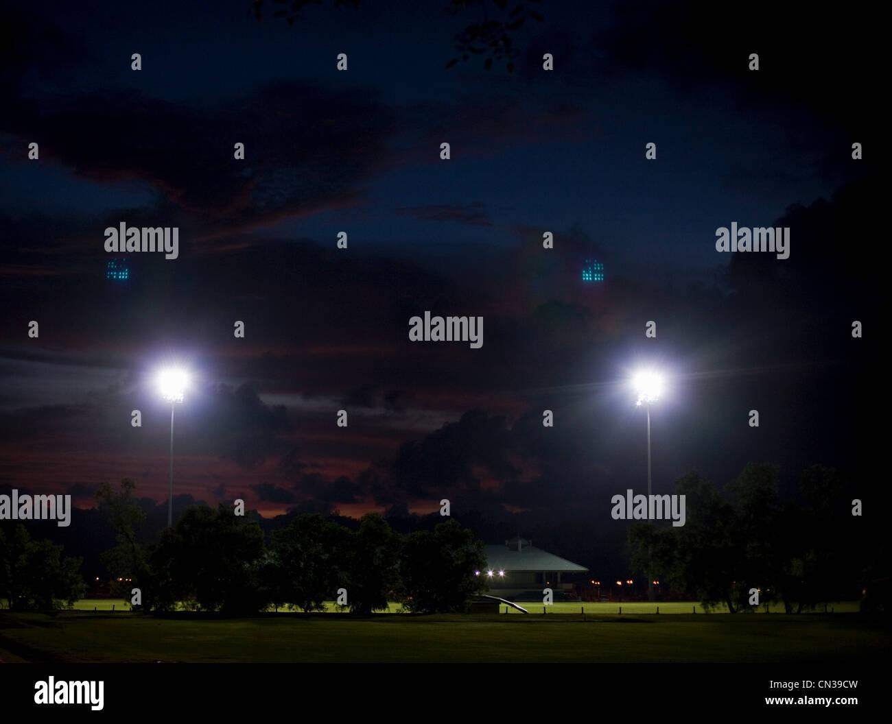 Campo Sportivo di notte, Bandar Seri Bagawan, Brunei Immagini Stock