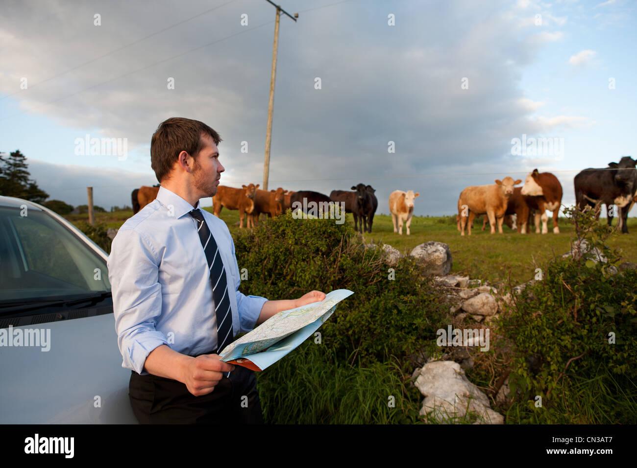 Imprenditore mappa di lettura in zona rurale Immagini Stock