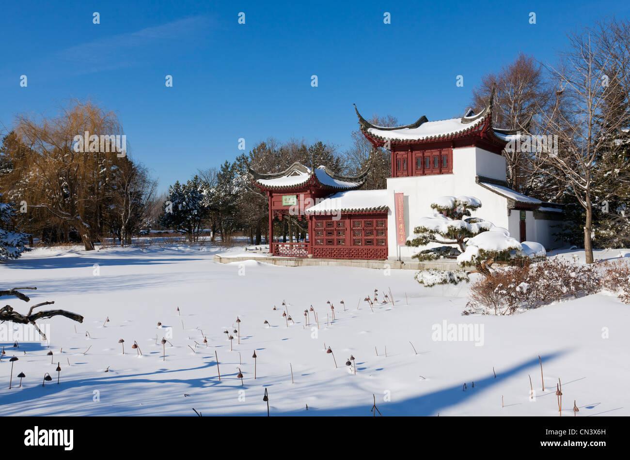 Canada, Provincia di Quebec, Montreal, il Giardino Botanico di neve il giardino Cinese e la pagoda Immagini Stock