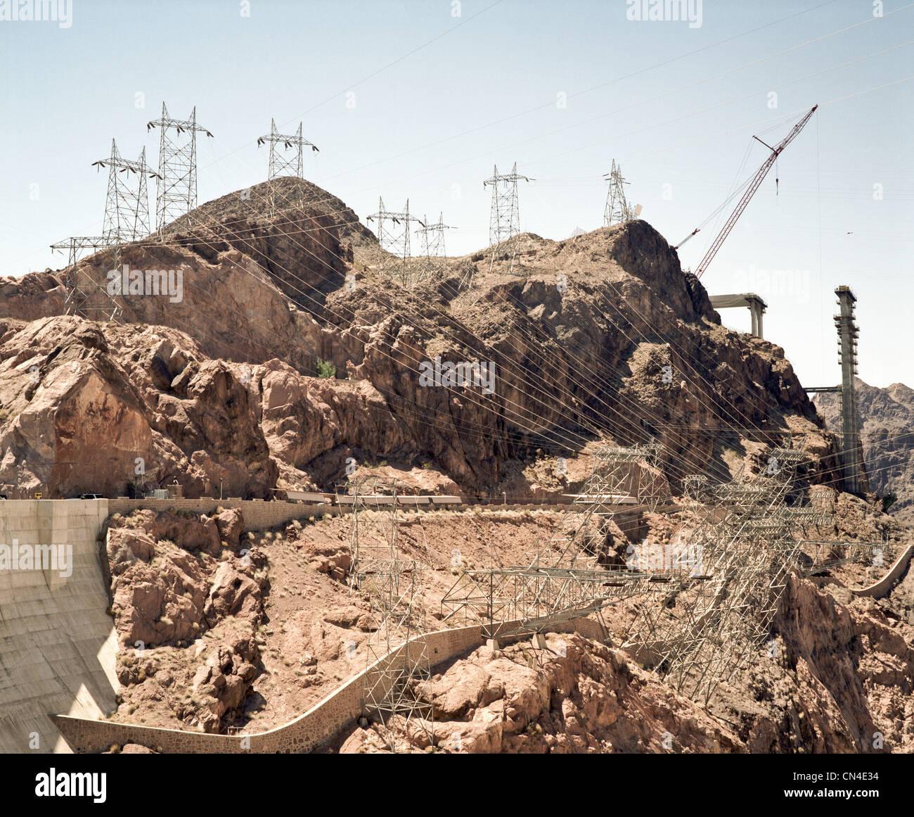 La diga di Hoover in costruzione, Nevada, STATI UNITI D'AMERICA Immagini Stock