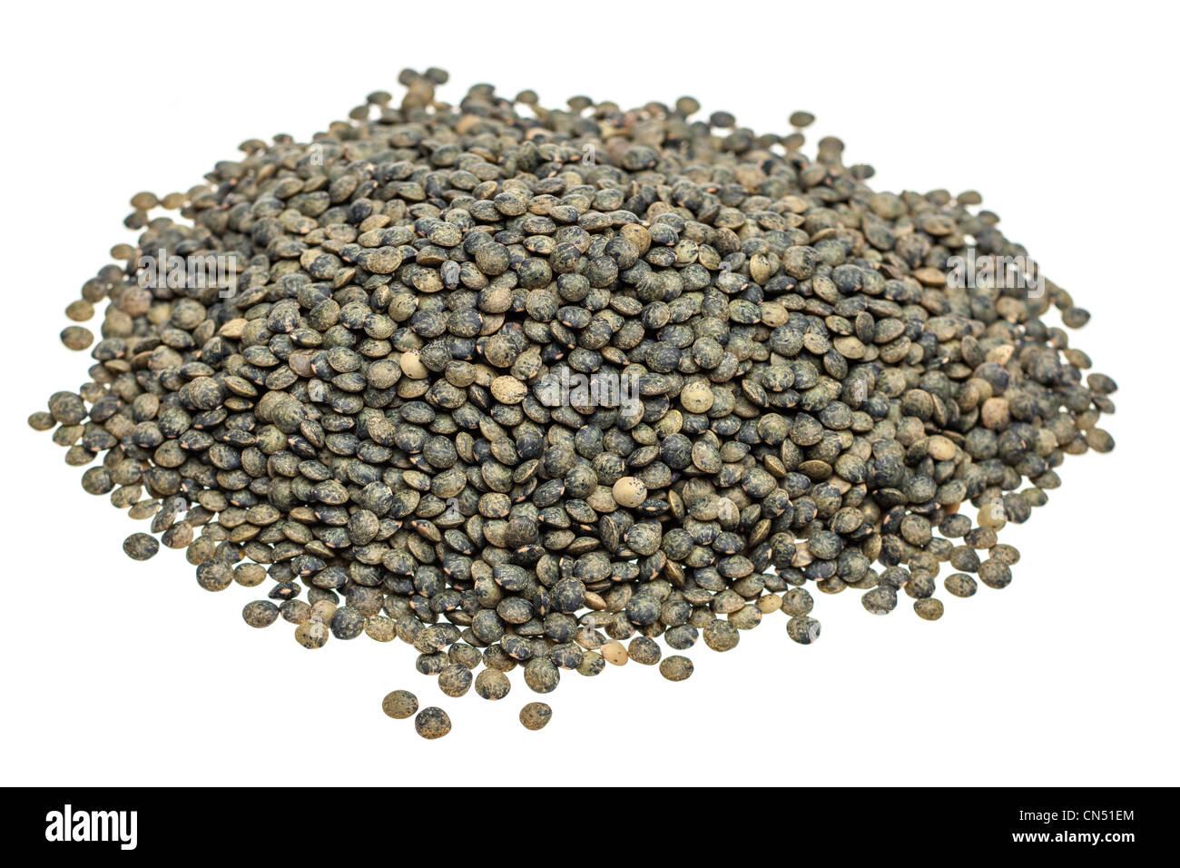 Pila di lenticchie vertes Immagini Stock