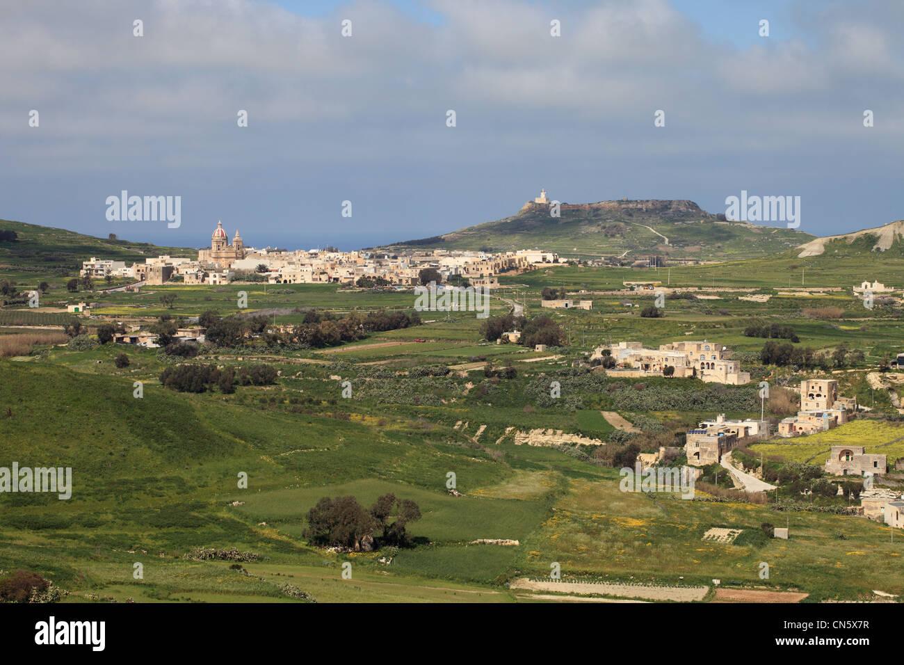 Vista dalla Cittadella Victoria sull'isola Mediterranea di Gozo, vicino a Malta, l'Europa. Immagini Stock