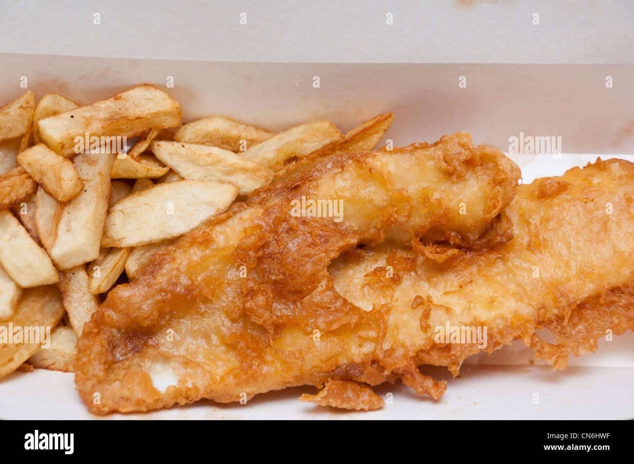 Pesce e Patatine inglesi cibo da asporto. Immagini Stock