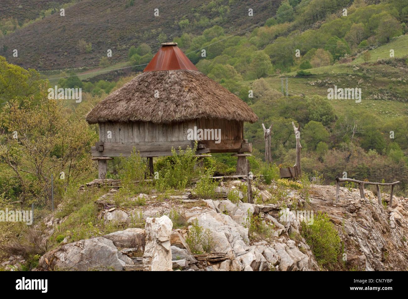 Spagna Galizia, O Cebreiro, villaggio tradizionale con tetti di paglia di case o pallozas Immagini Stock