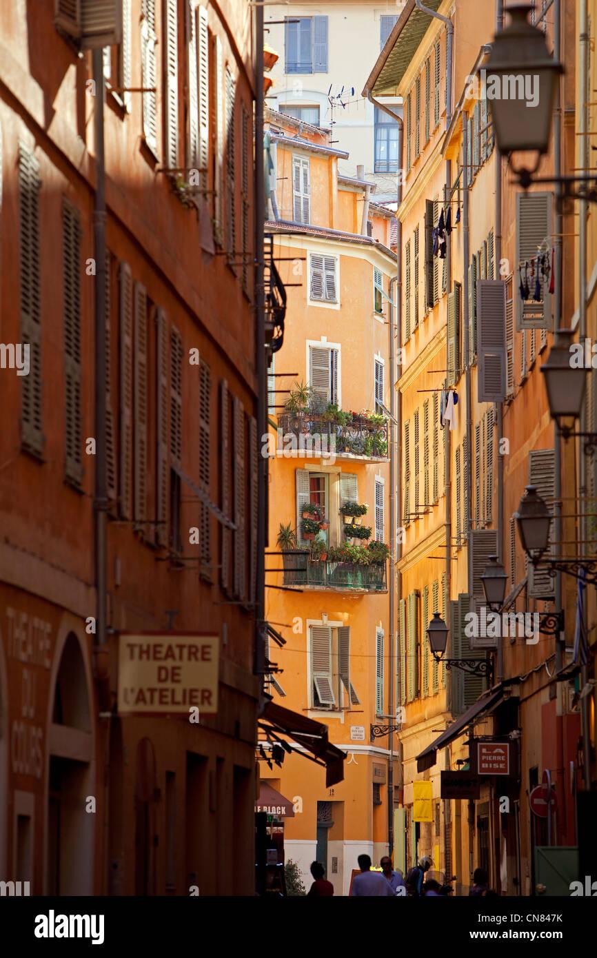 Francia, Alpes Maritimes, Nizza, Vieux Nice (la Città Vecchia), Rue Barillerie Immagini Stock