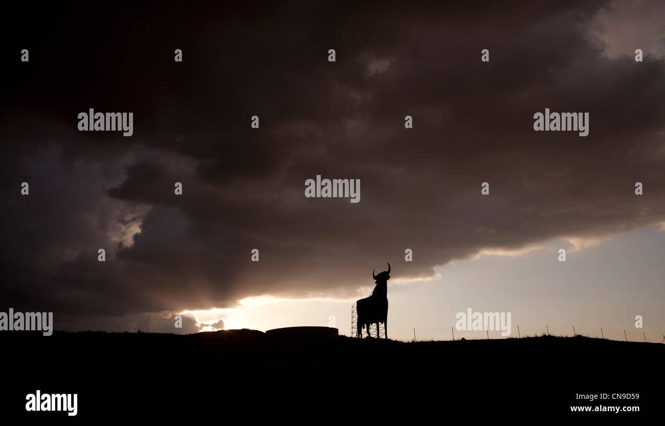Bull toro Spagna tipico ski tardo pomeriggio nuvole colori natura storm luz luce giorno di sole blu notte azul cielo Immagini Stock