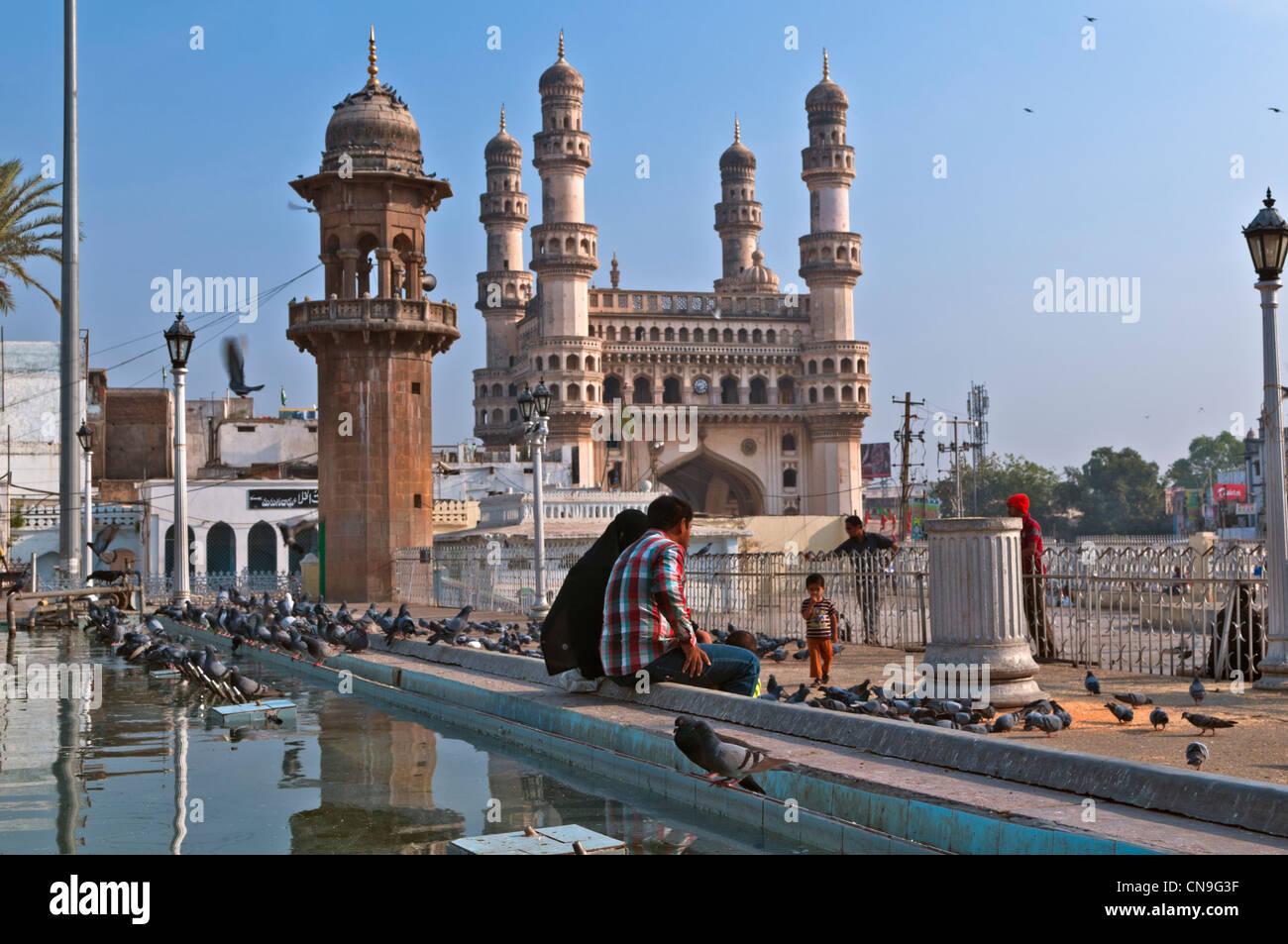 Charminar di Hyderabad, Andhra Pradesh in India Immagini Stock