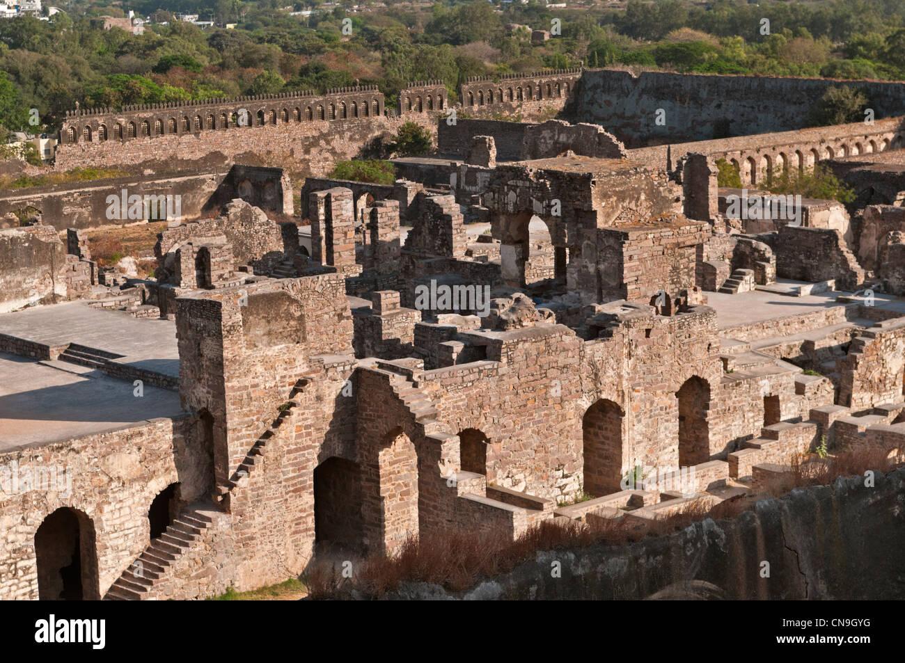 Golconda Fort di Hyderabad, Andhra Pradesh in India Immagini Stock