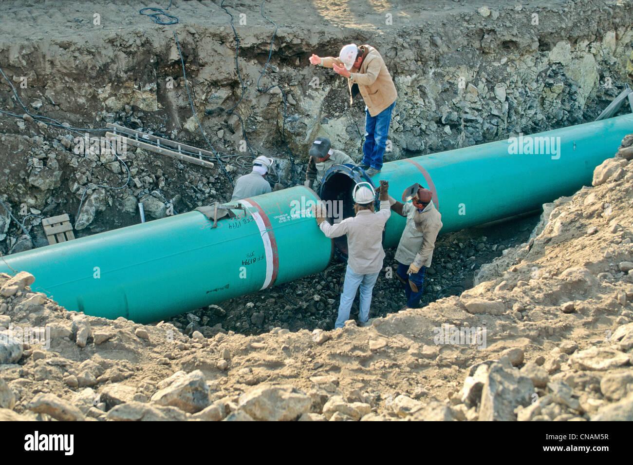 Il gas naturale Costruzioni di pipeline. Immagini Stock