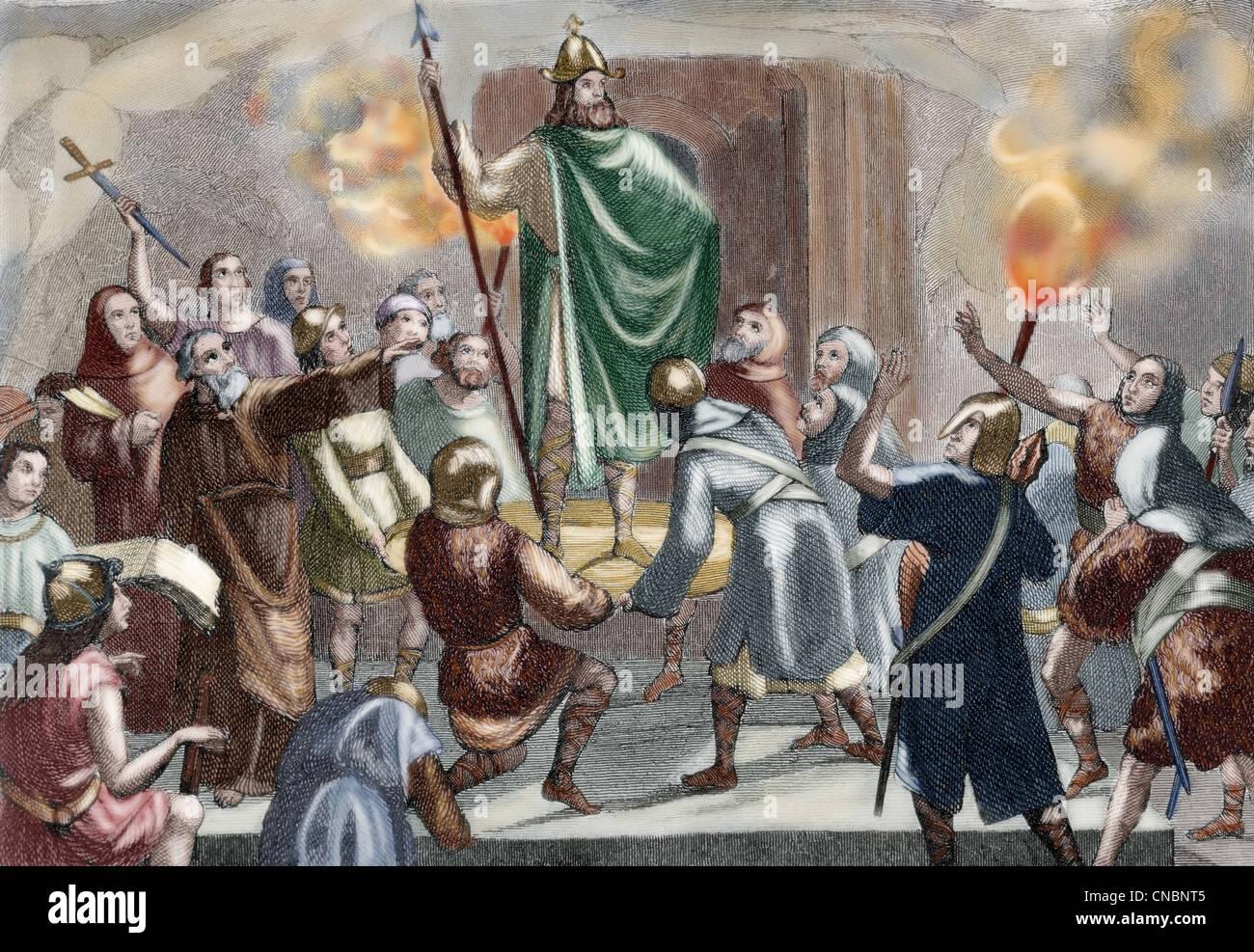 Incoronazione di Garci Ximenez (724 ¿? - 758?). Considerato, secondo la leggenda, il primo re del Sobrarbe. Immagini Stock