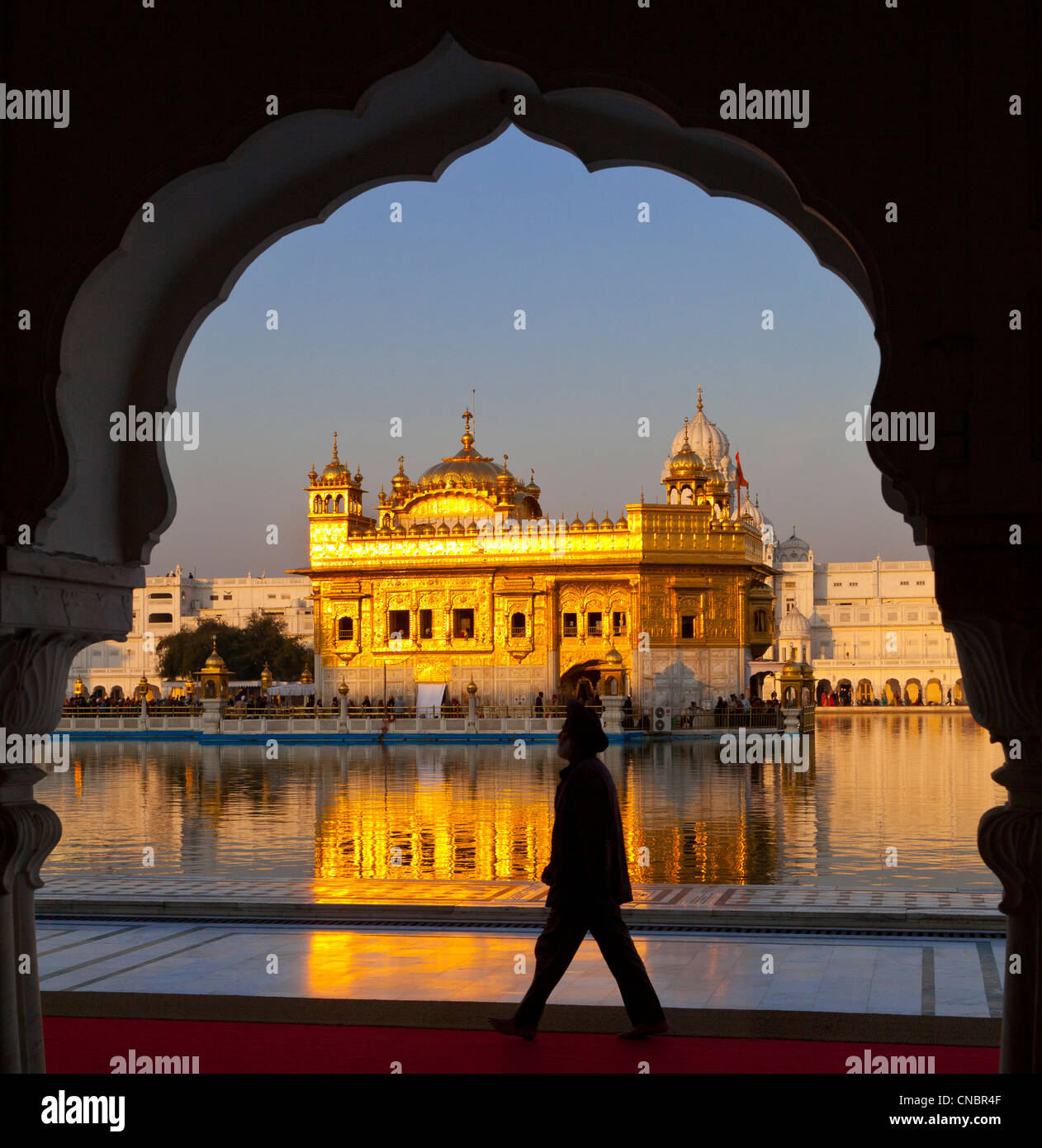 India Punjab, Amritsar e Tempio Dorato in golden. La luce del mattino Foto Stock