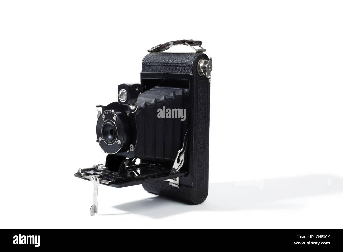 Studio shot di una vecchia moda fotocamera di piegatura Immagini Stock
