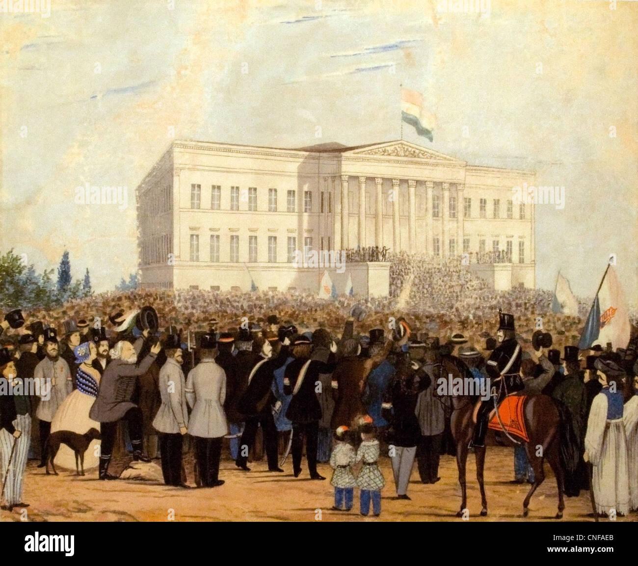Rally di fronte al Museo Nazionale, 15 marzo 1848 Immagini Stock
