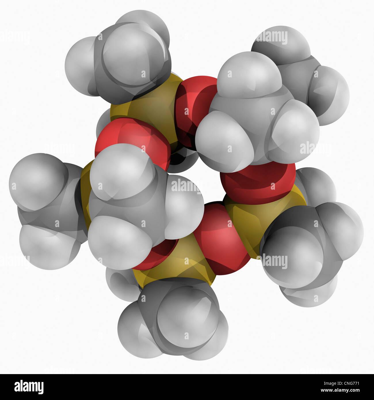 Il decametilciclopentasilossano molecola Immagini Stock