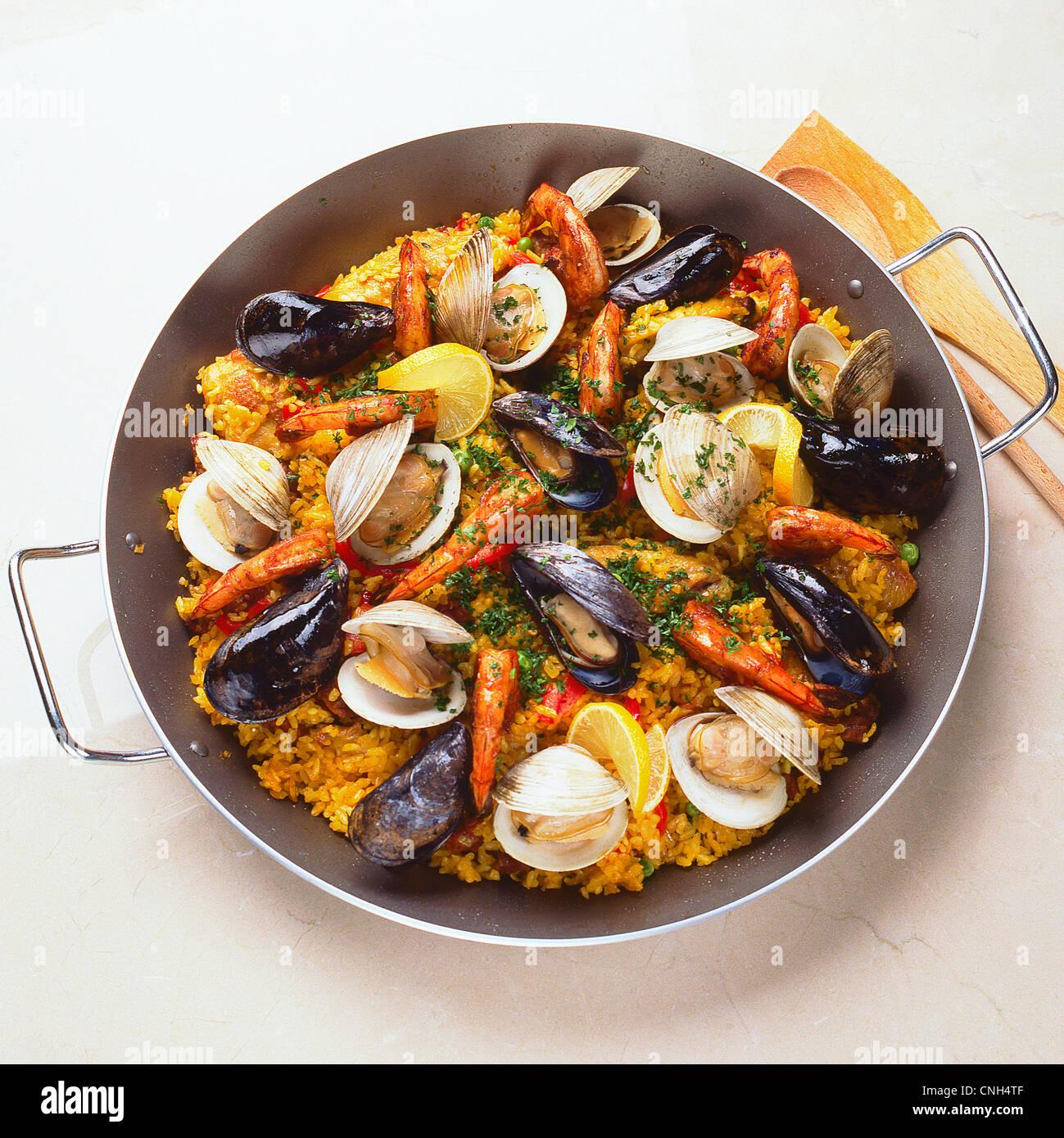 paella in vaschetta Immagini Stock