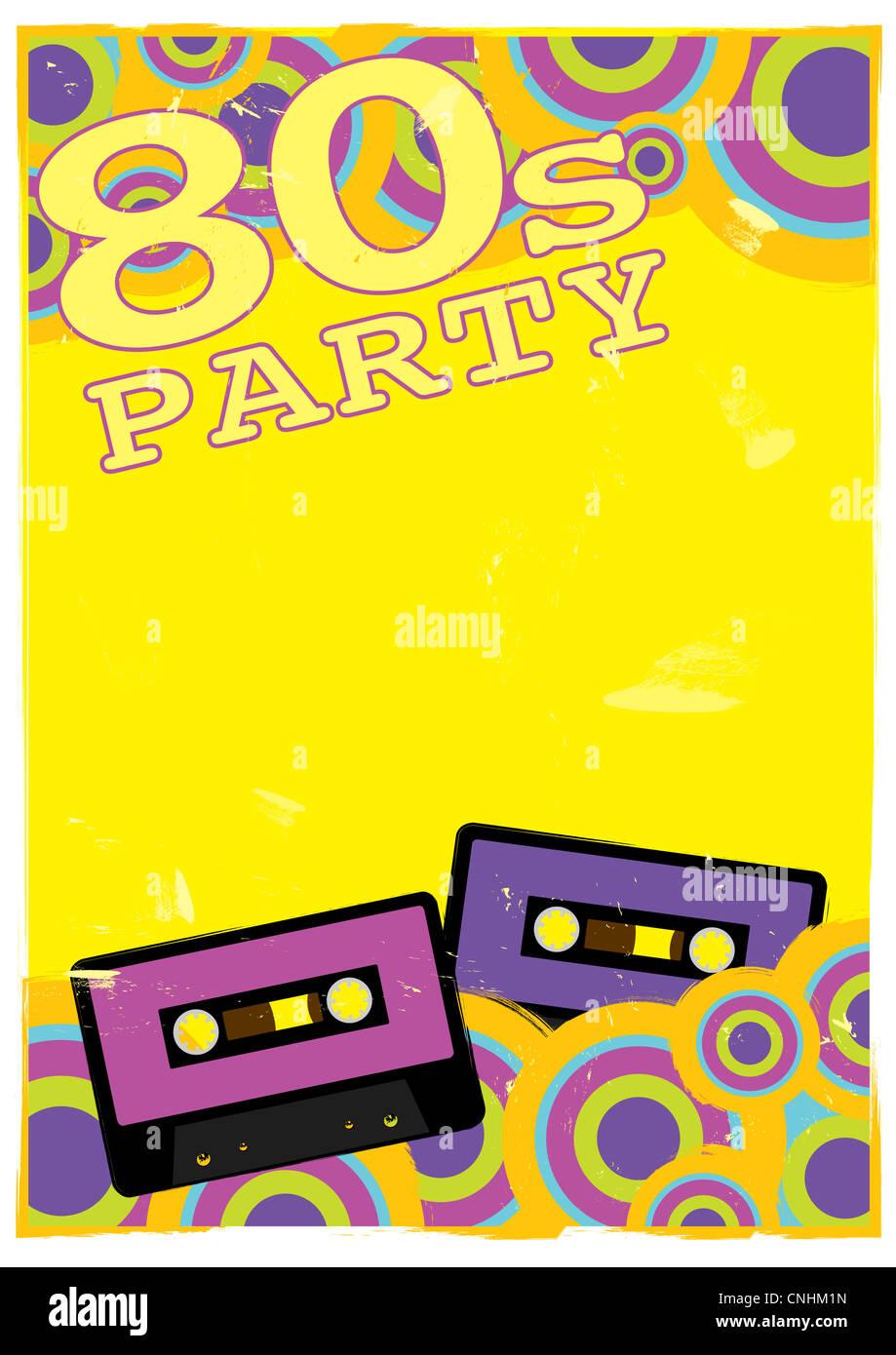 Poster retrò - 80s Party Flyer con Audio cassetta a nastro Immagini Stock