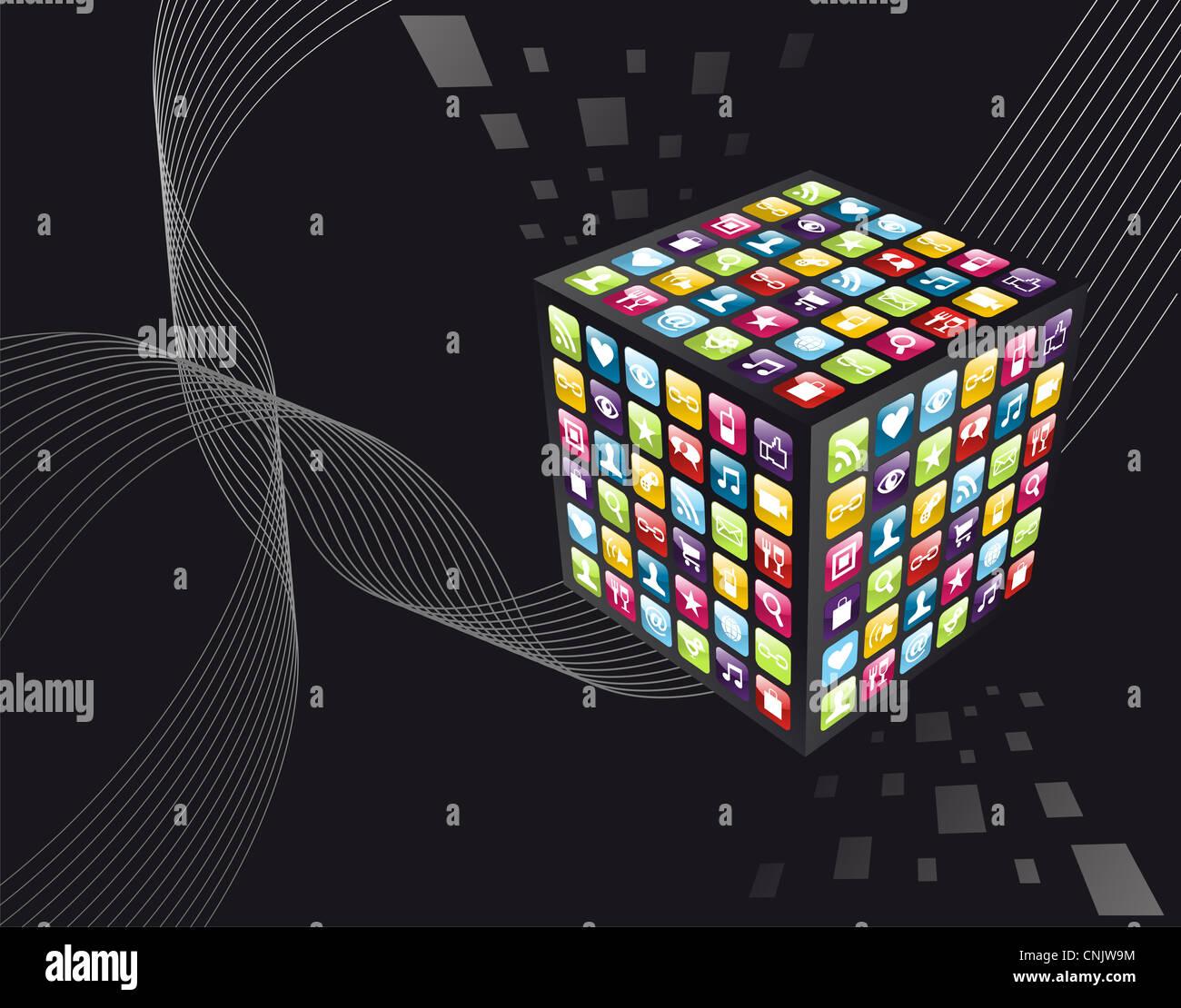 Applicazione Smartphone Le Icone A Forma Di Cubo Su Sfondo Nero